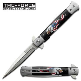 Tac-Force Knife Eagle USA Flag Italian Stiletto Style Spring Assist,  by Tac-Force