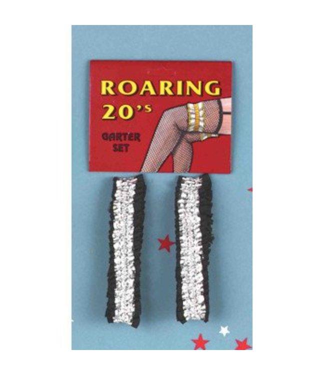 Forum Novelties Garter Armbands - Pair, Silver/Black