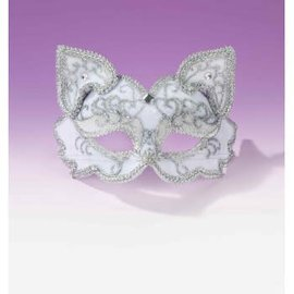 Forum Novelties Fancy Half Mask MM-077, White Cat