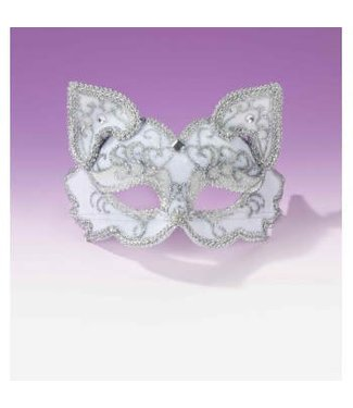 Forum Novelties Fancy Half Mask MM-077, White Cat