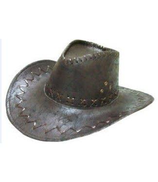 Forum Novelties Cowboy Hat w/ Stitching, Black Faux Suede