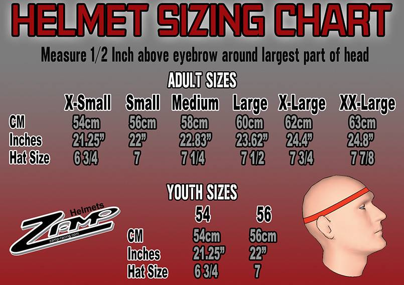 Zamp helmet chart