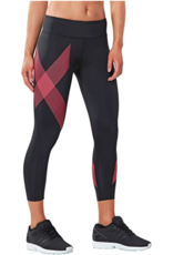 2XU North America 2XU 7/8 Mid-Rise Compression Tights (W) Black/Striped Pink Glow (Size M)