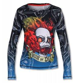 InknBurn INKnBURN LS Tech Shirt (W) - Run Or Die Fire Skull (Size 2XL)