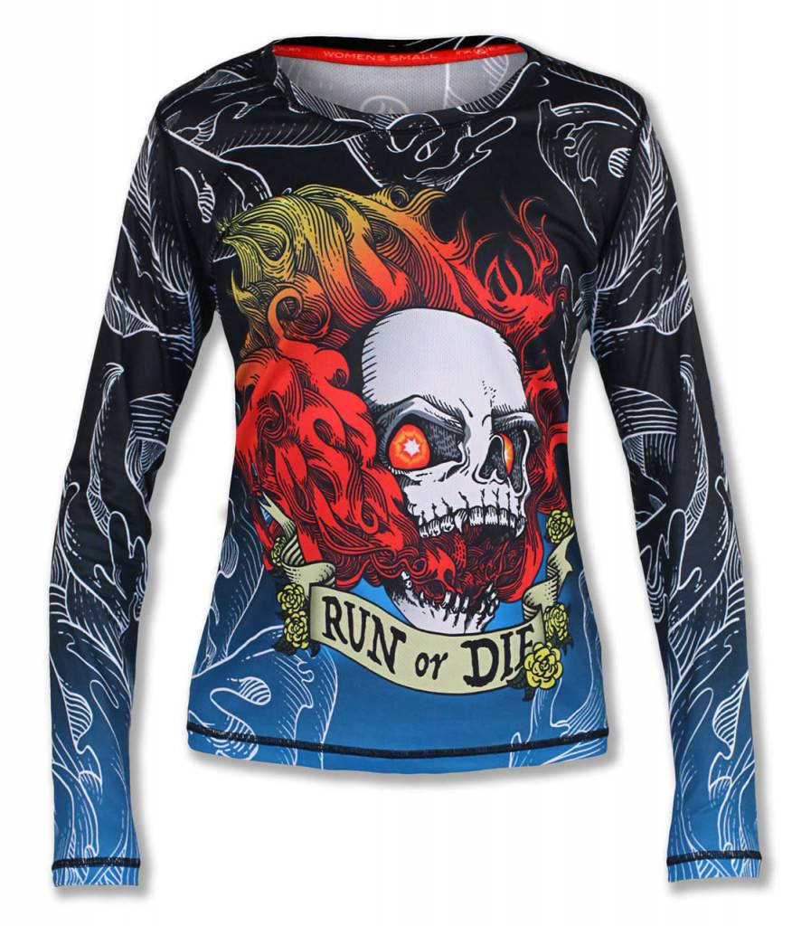 82ea3afdd7 InknBurn INKnBURN LS Tech Shirt (W) - Run Or Die Fire Skull - The ...