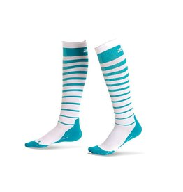 2XU North America 2XU Striped Run Compression Socks W Capri Blue/White (Size XS)
