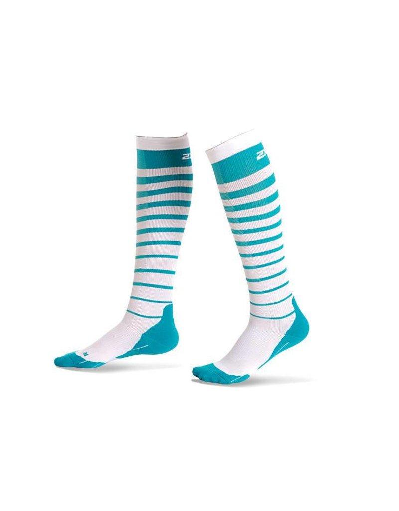 2XU North America 2XU Striped Run Compression Socks W Capri Blue/White (Size XS)