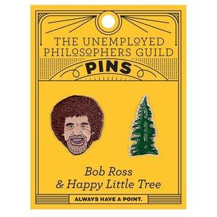 Unemployed Philosophers Guild Bob Ross & Trees Pin Set