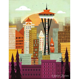 Amber Leaders Seattle Skyline Print