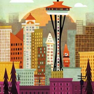 Amber Leaders Seattle Skyline Print