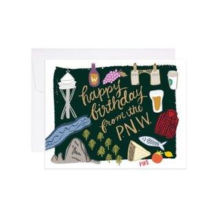 9th Letter Press Birthday Card - Happy Birthday From PNW