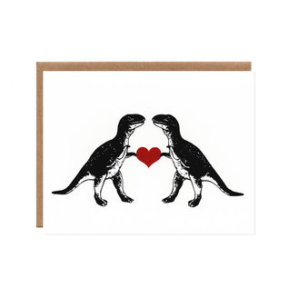 Orange Twist Love Card - T-Rex In Love