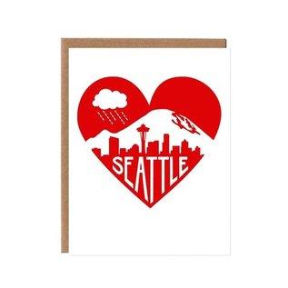Orange Twist Greeting Card - Seattle Love Red