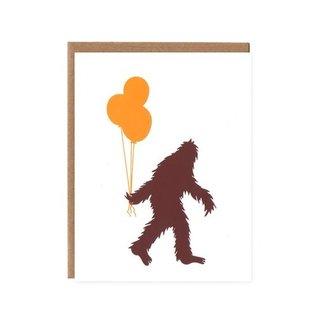 Orange Twist Birthday Card - BD Sasquatch Balloons