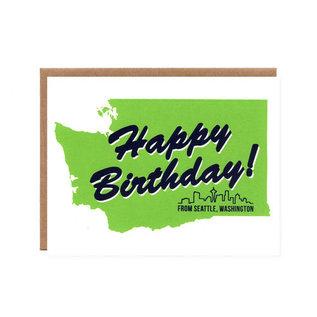 Orange Twist Birthday Card - Seattle Green