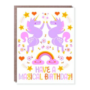 Hello Lucky / Egg Press Birthday Card - Unicorn Hi-Five