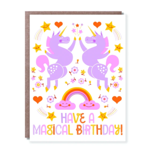 Hello Lucky / Egg Press Birthday Card - Unicorn Hi-Five