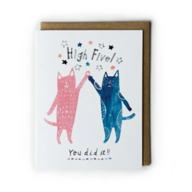 Yuko Miki Congrats Card - Cats High Five