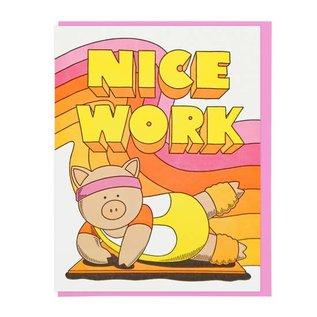 Lucky Horse Press Congrats Card - Nice Work Aerobics Pig