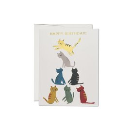 Red Cap Cards Birthday Card - Gold Kitty