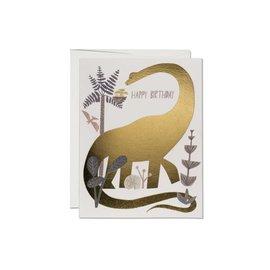 Red Cap Cards Birthday Card - Dinosaur Foil