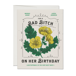 Red Cap Cards Birthday Card - Bad Bitch