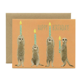 Yeppie Paper Birthday Card - Meerkats & Candles