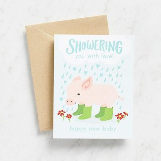Waste Not Paper Baby Card - Shower With Love Piglet