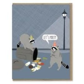 Modern Printed Matter Birthday Card - Raccoon Party