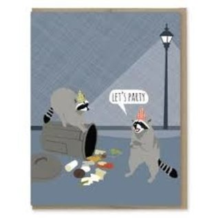 Modern Printed Matter Birthday Card - Raccoon Party