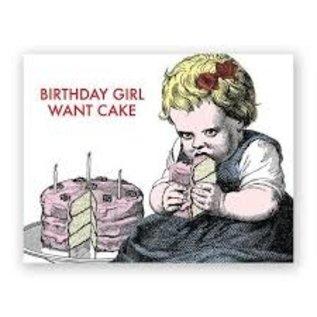 Mincing Mockingbird Birthday Card - Birthday Girl Want Cake
