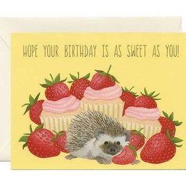 Yeppie Paper Birthday Card - Hedgehog Strawberries