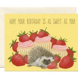 Yeppie Paper Birthday Card - Hedgehog Strawberries