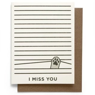 Smarty Pants Paper Friend Card - Miss You Cat Paw