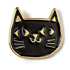 Badge Bomb Black & Gold Cat Enamel Pin