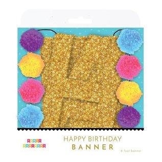 Party Partners Glitter Pom Pom Happy Birthday Banner