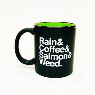 Annie's Art & Press Rain & Coffee & Salmon & Weed Mug