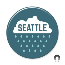 Badge Bomb Seattle Raincloud Magnet