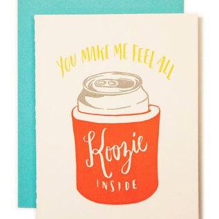 Ladyfingers Letterpress Love Card - Koozie Inside
