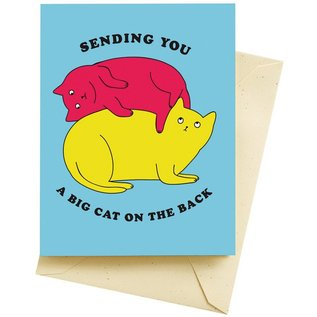 Seltzer Congrats Card - Cat On The Back