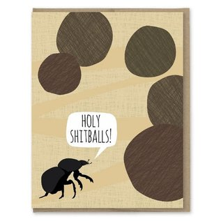 Modern Printed Matter Greeting Card - Holy Shitballs Dung Beetle