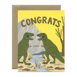 Yeppie Paper Congrats Card - T-Rex Fist Bump