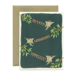 Yeppie Paper Congrats Card - Flying Squirrels