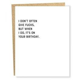 Sapling Press Birthday Card - Give Fucks