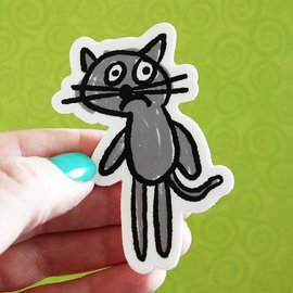 Kat French Design Anxious Cat Sticker