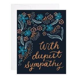 9th Letter Press Sympathy Card - Dark Floral Foil