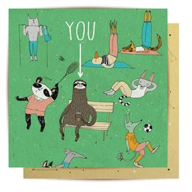 La La Land Greeting Card - Sloth Benchwarmer