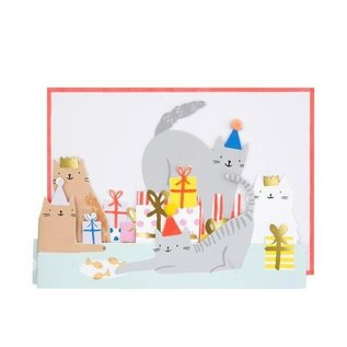 Meri Meri Birthday Card - Cat Party Fold-Out