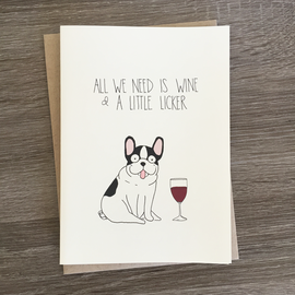 Fine Ass Lines Greeting Card - Wine & A Little Licker