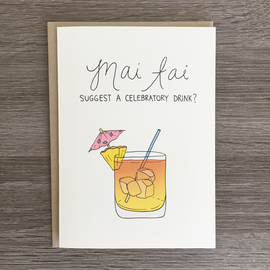 Fine Ass Lines Greeting Card - Mai Tai